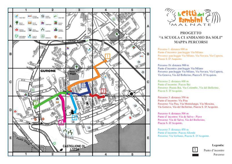 Mappa con percorsi per l'anno 2012-13