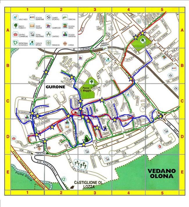 Mappa con percorsi tracciati dai bambini