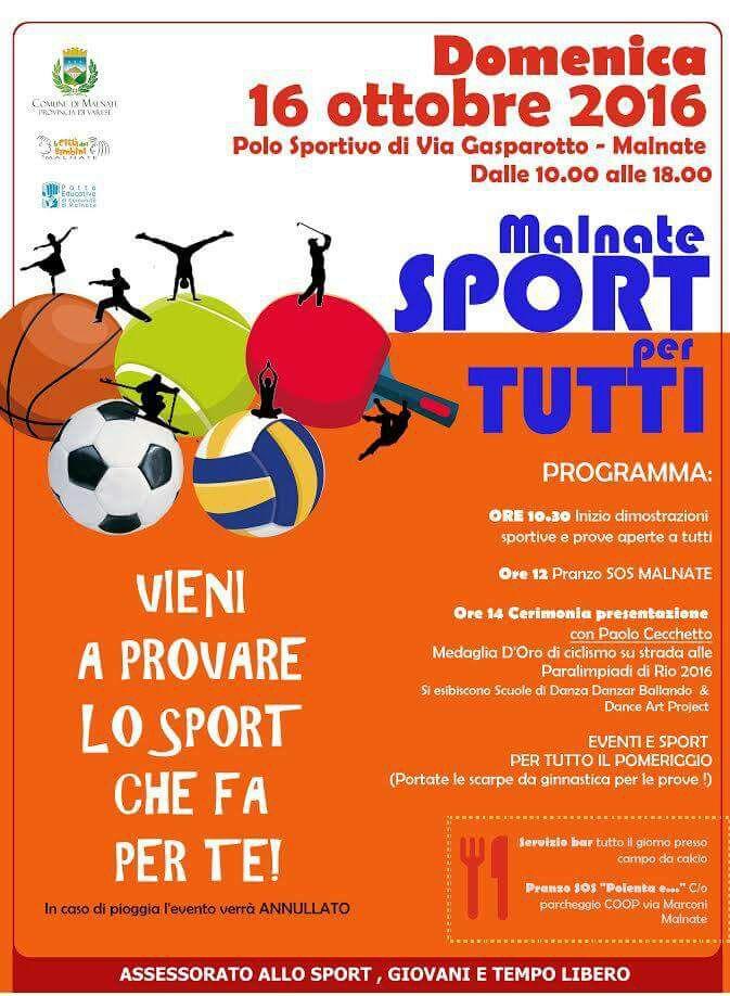 Locandina Malnate Sport per tutti